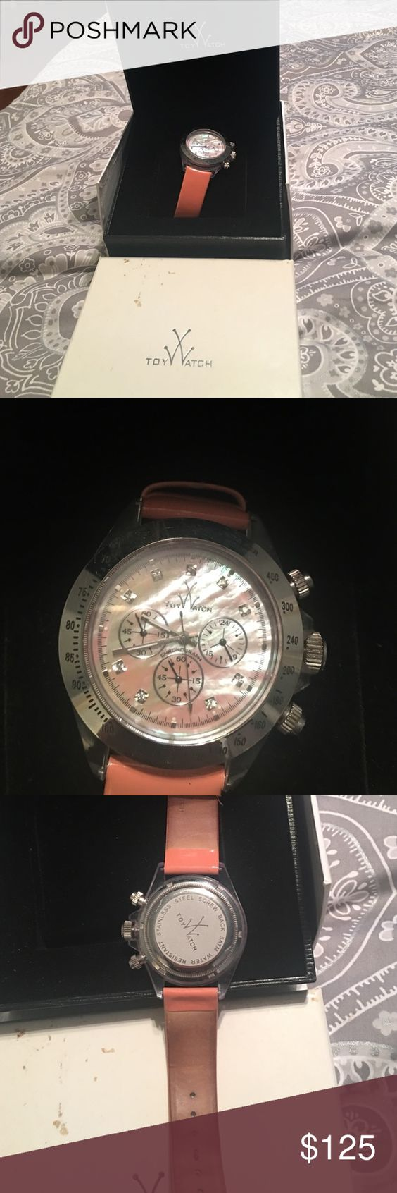 Toy Watch with diamonds Women's stainless steel watch with peach leather band Accessories Watches