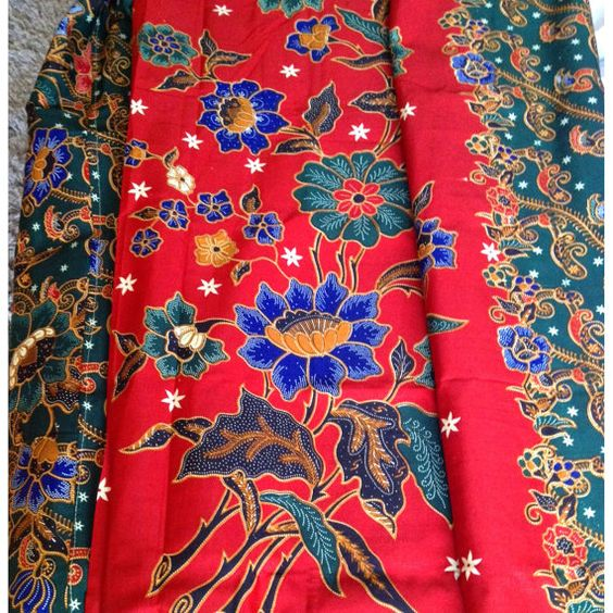 Red And Green Hand Dyed Malaysian Floral Batik Fabric