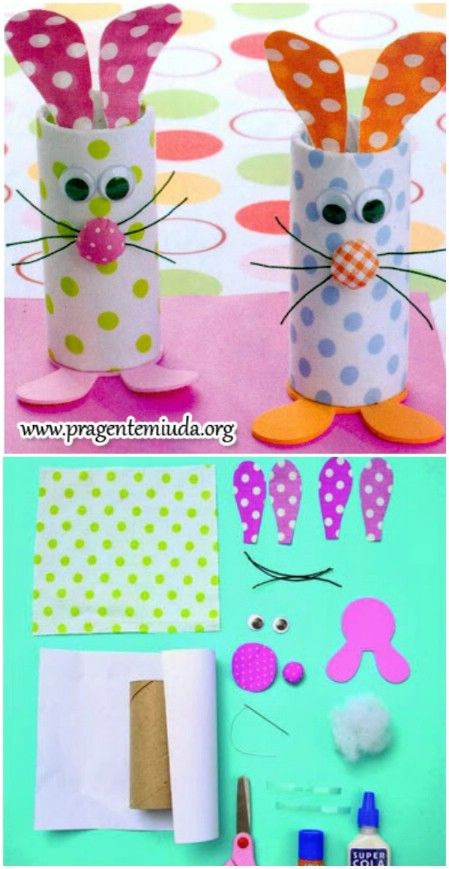 Easter Crafts Easter Bunny Toilet Rolls: