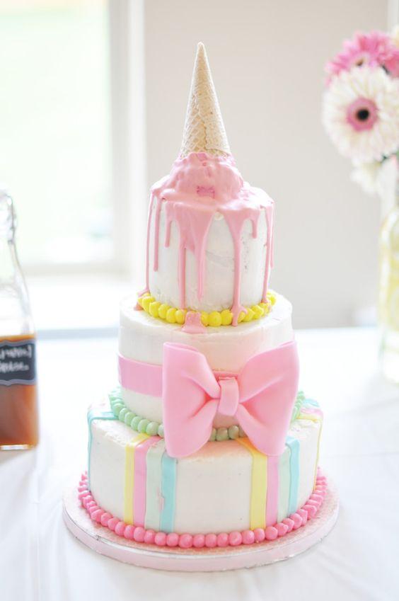 Ice Cream Themed Birthday Cake at an Ice Cream Social Birthday Party - SO FUN!
