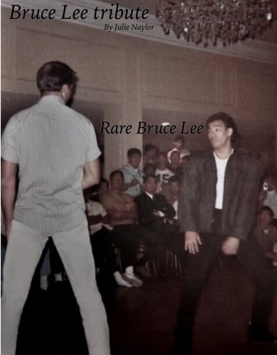 Rare picture of Bruce with Barney Scollen during demonstrations the night before the first long beach international Karate tournament in 1964.