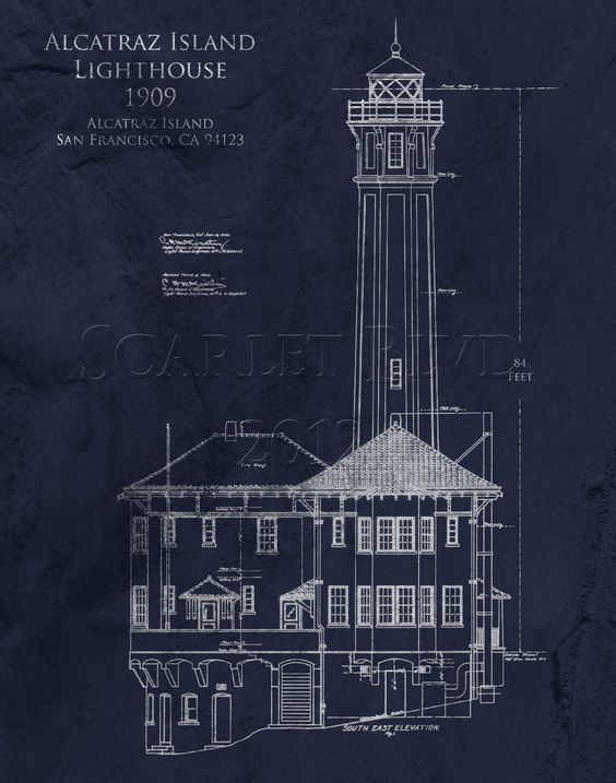 Alcatraz lighthouse architectural blueprint art lighthouse art architectural blueprint art print alcatraz lighthouse 8 x 10 2500 via etsy malvernweather Image collections