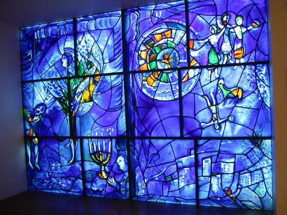 Stained glass window designed by chagall event for Chagall mural chicago