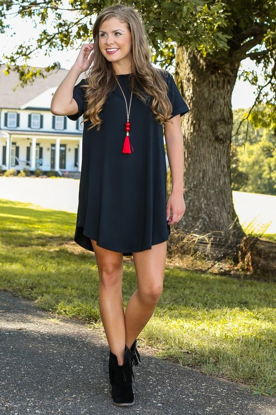 Down To A T-Shirt Dress-Black - Fall First Look - Shop By Trend | The Red Dress Boutique