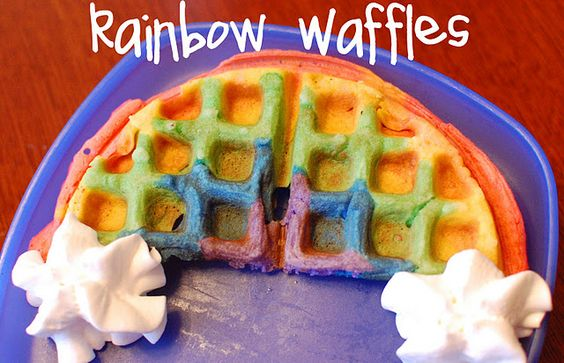 adorable rainbow waffles. st. patrick's day??