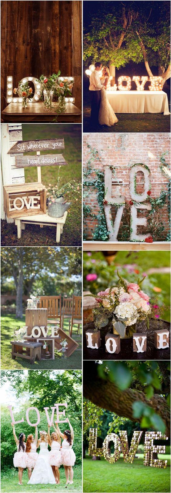 35 Awesome LOVE Letters Wedding Decor Ideas | http://www.deerpearlflowers.com/35-awesome-love-letters-wedding-decor-ideas/: