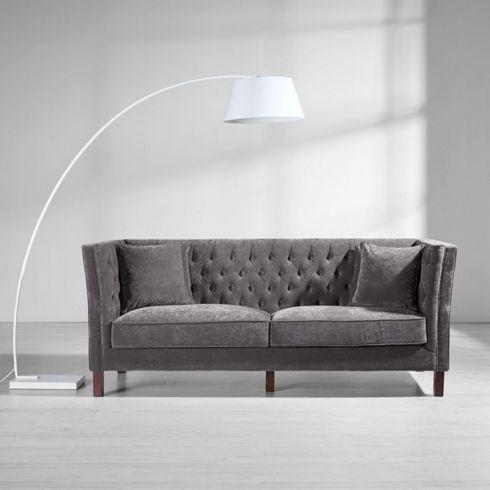 Chesterfield sofa modern grau  Sofa mit Samtbezug in Grau - ein Platz zum Wohlfühlen für Ihr ...