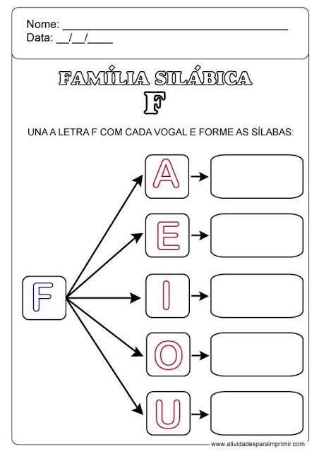 Familia Silabica Do F Familia Silabica Do B Atividades Letra E Letra Do Dia