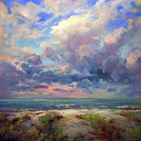 """Robert Andriulli, Sanibel Beach with Billowing Clouds, 2009  Oil on linen, 30x30"""",  Private Collection"""