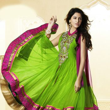 Green Net and Faux Georgette Readymade Two Layer Anarkali Legging Kameez