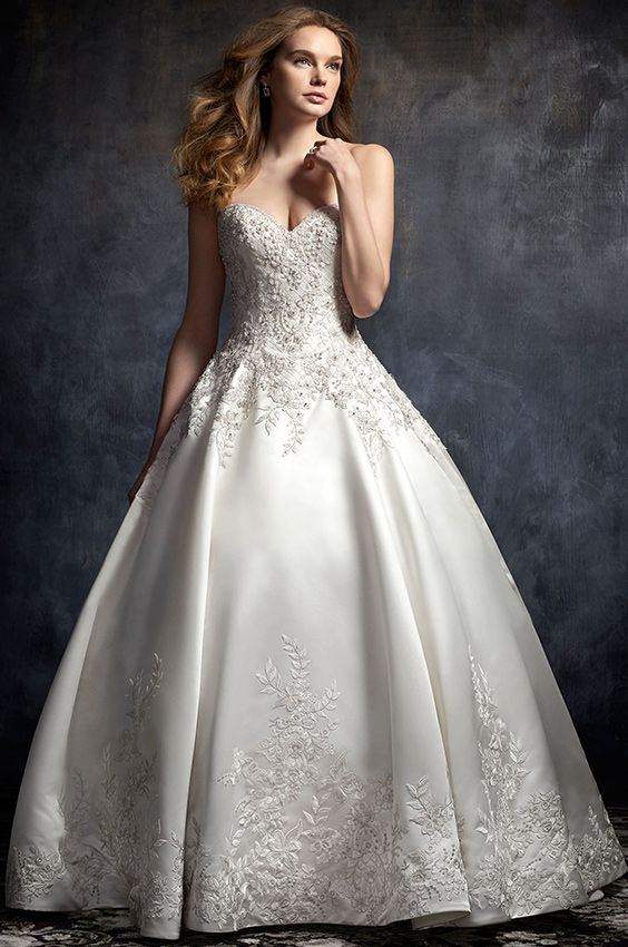 Kenneth Winston Style 1749 Classic Beaded Embroidery On Matte Satin Ballgown With Sweetheart Ball Gowns Wedding Fitted Wedding Dress Ball Gown Wedding Dress
