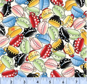 Tea Decadence - Tea Cups Packed        Tea Decadence designed by Mary Engelbreit for VIP Exclusive & Quilting Treasures.