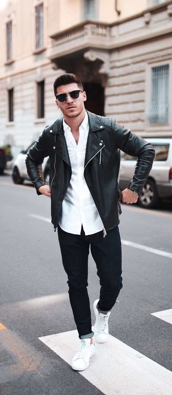 Monochrome Outfit Idea With A Black Leather Jacket White Button Up Shirt Rayban Sunglasses Black Denim Whi Leather Jacket Outfit Men Stan Smith Outfit Menswear
