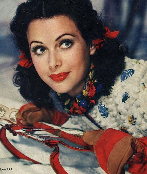 Hedy Lamarr looking super cute while enjoying a spot of wintertime sledding.