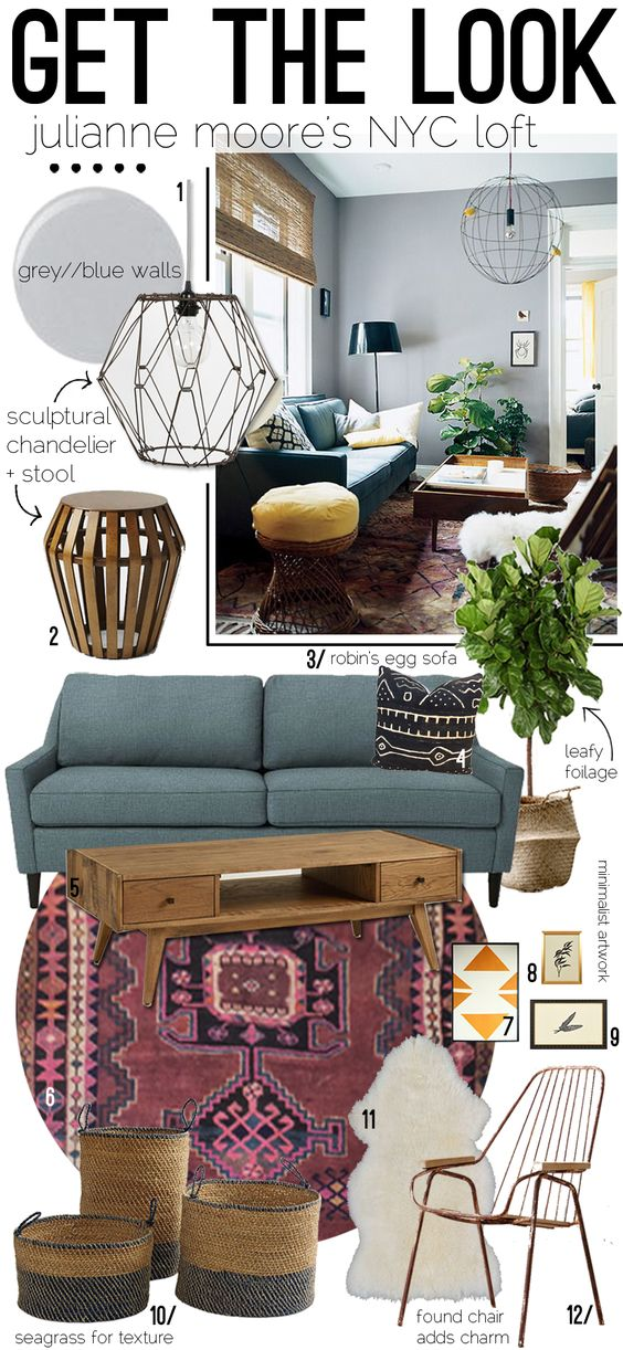 Julianne Moore's pad is one my all time faves. It's eclectic and perfectly curated. I have pinned it...