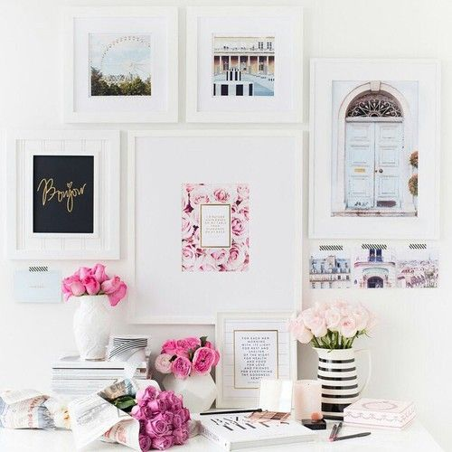 dream home office set up with gallery wall #pink #flowers: