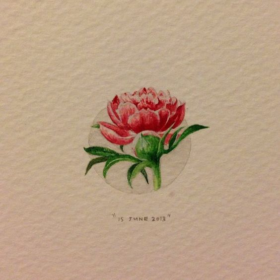 Day 147 : Peonies for Angie on her birthday. 22 x 25 mm. #365paintingsforants #miniature #watercolour #peony #utrecht (at Gerard Doustraat)