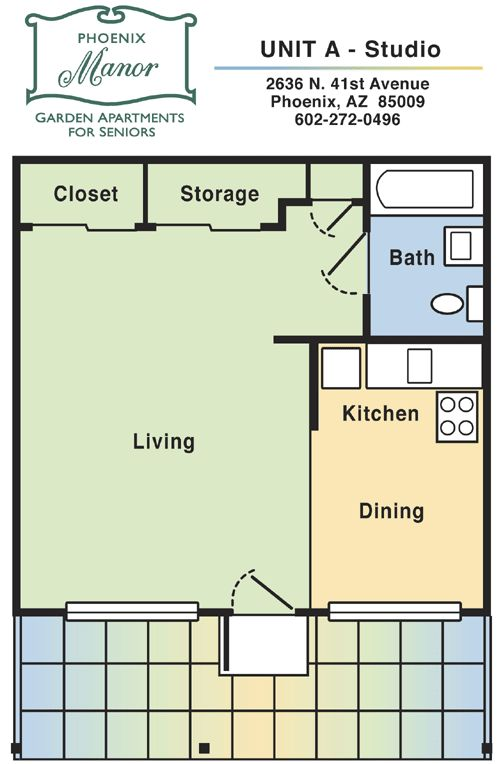 Studio blueprints studio apartment floor plan unit a for Studio apartment blueprints