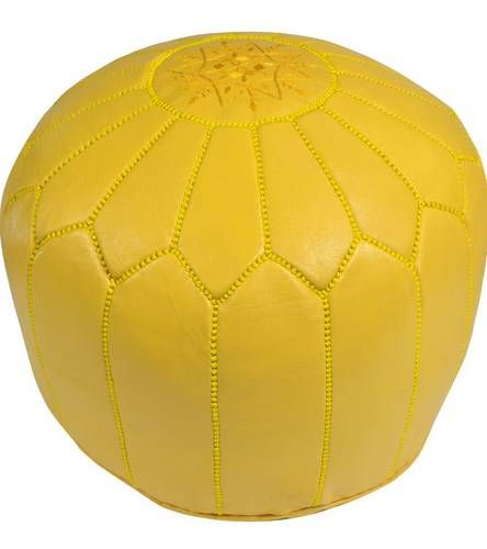 Yellow Leather Pouf