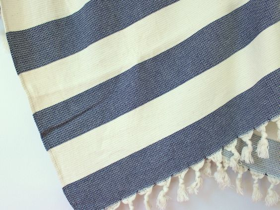 Navy Blue Striped Throw Blanket Organic Sofa Wrap by onTheRainbow