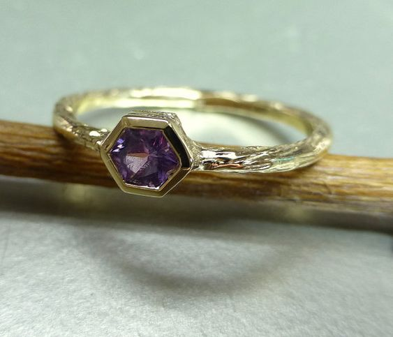 Engagement ring or stacking ring. Purple sapphire. Unique hexagon cut.. $300.00, via Etsy.