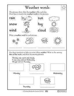 Kindergarten Writing Worksheets: Weather words | Weather ...