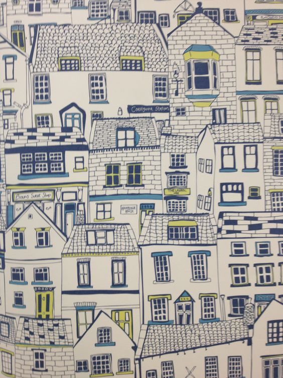 Terrific Coastal Cottages Wallpaper By Surface Pattern Designer Jessica Largest Home Design Picture Inspirations Pitcheantrous