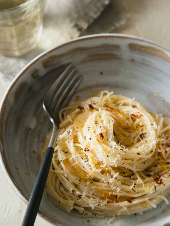 Capellini with Garlic, Lemon and Parmesan | spoon fork bacon | Bloglovin'