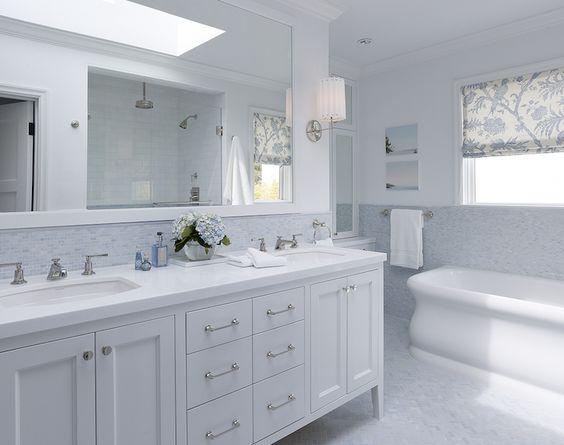 White double bathroom vanity blue mosaic tiles backsplash for Mosaic tile vanity top