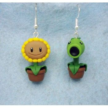 plants vs zombie earrings,pendientes,video juegos,video game,