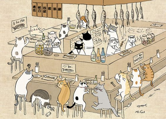 Cats at the such I bar tumbex - goropika.tumblr.com : catsbeaversandducks:Cute illus... (113163974578)