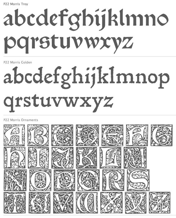 fonts typefaces of arts and crafts movement William Morris - Google Search