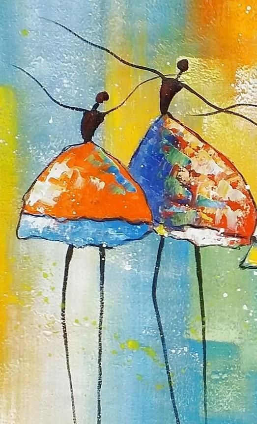 Abstract Art Canvas Painting Ballet Dancer Painting Wall