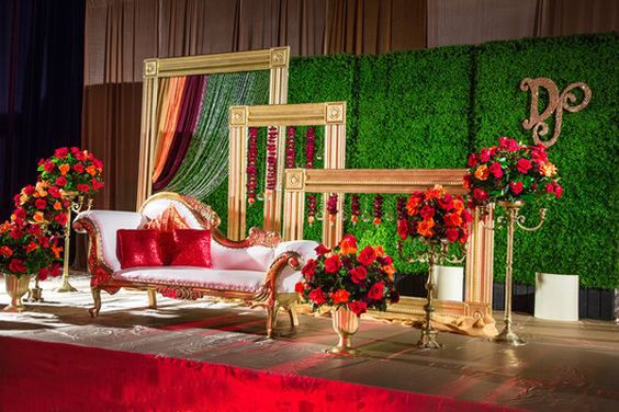 Enchanted garden theme stage decoration for wedding