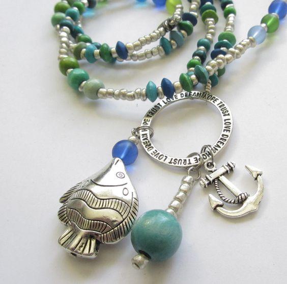 Charm- & Bettelketten - Bettelkette Anker Fisch Delfin blau-grün-silber - ein Designerstück von soschoen bei DaWanda