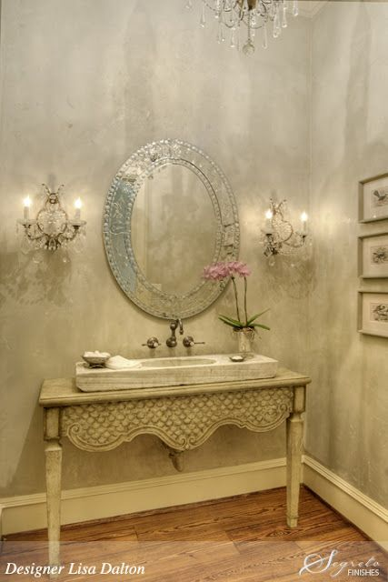 Plaster walls in a beautiful French country bathroom. Segreto Finishes. Come see more interior design inspiration with Exquisite Plaster Walls, Finishes and Segreto Stone.#plaster #walls #finishes #segreto #interiordesigninspiration