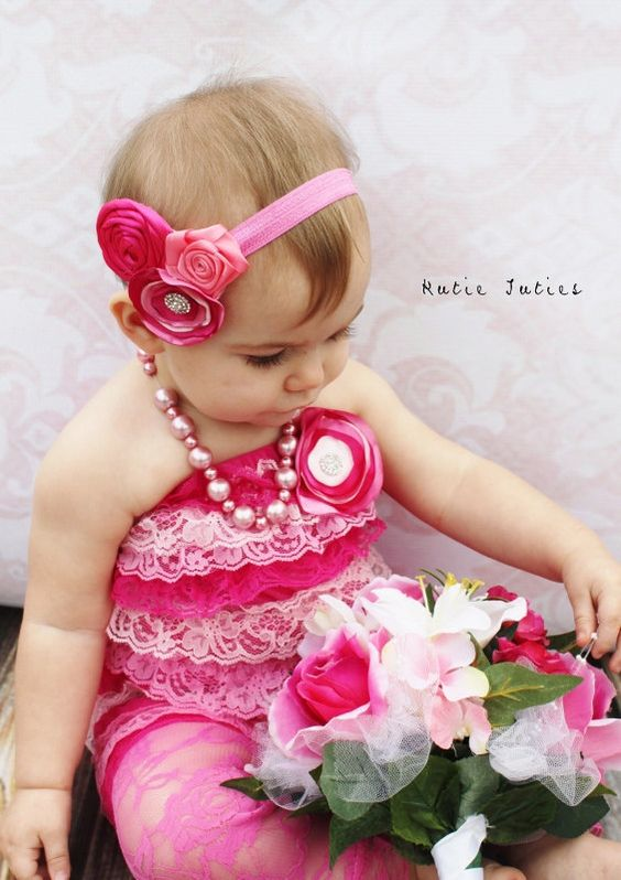 Lace Romper Pink Hot pink and light pink outfit by KutieTuties, $26.50