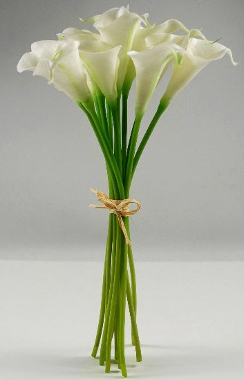 """""""Real Touch"""" White Calla Lily Bouquet   Not waterproof.  10 flowers / bouquet.  14 inch tall flowers; bunch is 8"""" wide.  Flower heads are 3"""" tall x 2"""" wide.  Shapeable stems and flowers.  On """"special"""": $20 each; 3 / $15 each."""