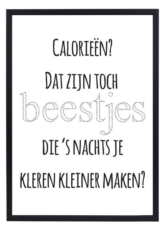 Calorieën - Grappige poster met de tekst 'Calorieën? Dat zijn toch beestjes die 's nachts je kleren kleiner maken?' Leuk voor in de keuken! Formaat 30x40 cm, wordt geleverd zonder de afgebeelde lijst.