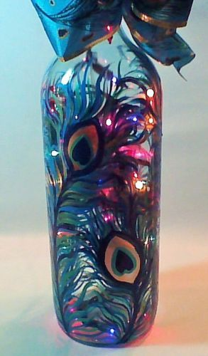 Hand-Painted-Wine-Bottle-Lamp-with-Colorful-Peacock-Feather-Design