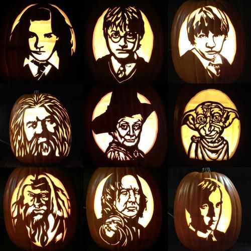 I Still Have 2 Pumpkins Left But Here Is The Characters Of Harry Potter I Still Want To Carv Harry Potter Pumpkin Carving Harry Potter Pumpkin Pumpkin Carving