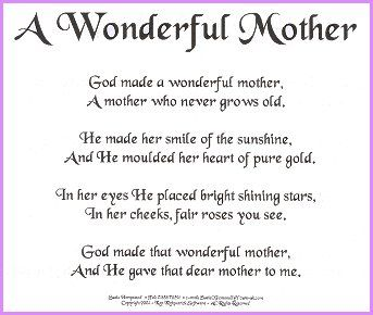 Mothers Day Poems - Mothers Day - Homemade
