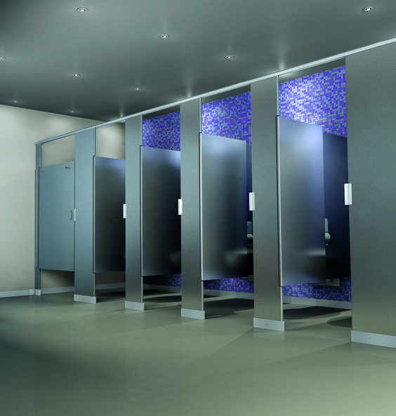 Scranton products hiny hider toilet partition shown in for Stainless steel bathroom partitions