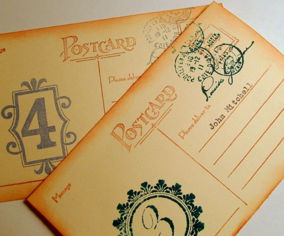 custom postcard Escort cards destination French Hand by 0namesleft