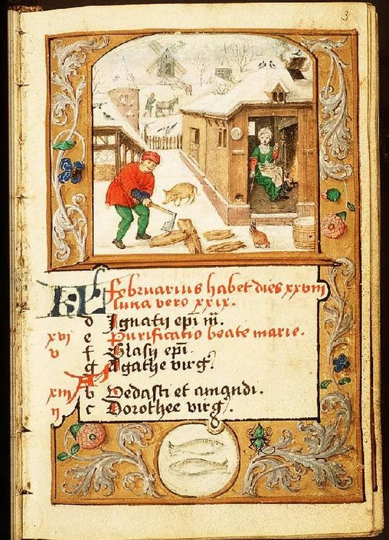 February - Book of Hours in Latin and Dutch (use of Liège), Diocese Liège (Maastricht?), Franciscus Verheyden (scribe); c. 1500-1525 - The Hague, Koninklijke Bibliotheek, 133 D 11