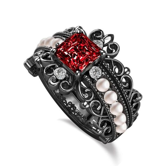 Vancaro , Vintage Style Pearl Ring With Lab,created Ruby Studded