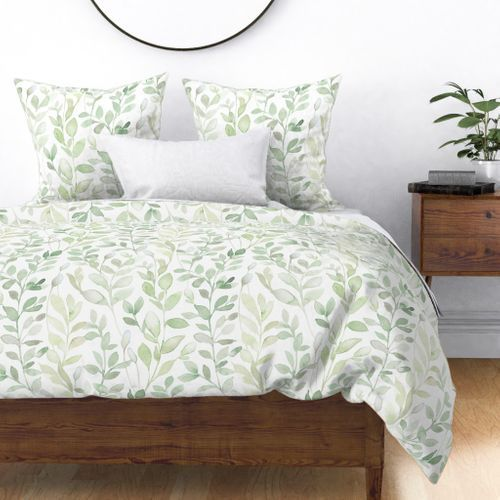 Colorful Fabrics Digitally Printed By Spoonflower Midsummer Leaves In Light Green Large Scale Green And White Bedroom Green Duvet Covers Light Green Bedrooms