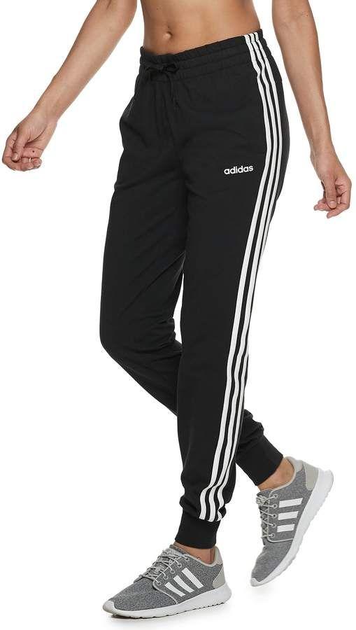 Womens adidas Essential 3 Stripe Jogging Pants Fleece Bottoms Lightweight New