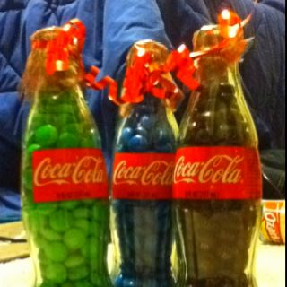 Made these for my friends for Christmas! M&M's in coke bottles