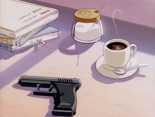Imagen de anime, gun, and coffee